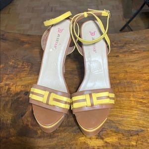 Just fab brown and yellow sandals